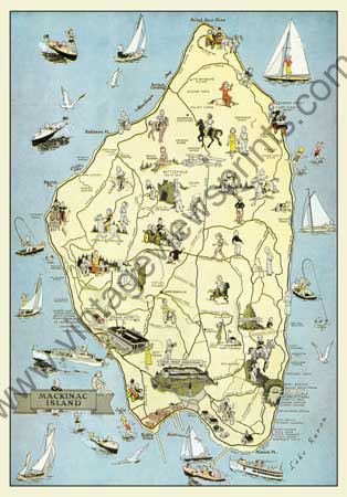 MP04 Mackinac Island Cartoon Map on lake huron map, grand rapids map, michigan map, ottawa island map, crespo island map, somerset island map, isle royale map, saint joseph island map, ionia island map, lawrence island map, douglas island map, great lakes map, bois blanc island map, traverse city map, mackinaw city map, tahquamenon falls map, lake island map, drummond island map, raspberry island map, st. louis island map,